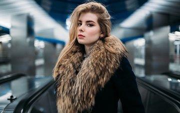 girl, portrait, look, hair, face, fur, irina popova, ivan proskurin