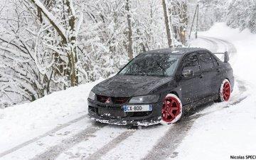 дорога, деревья, снег, зима, автомобиль, митсубиши, мицубиси