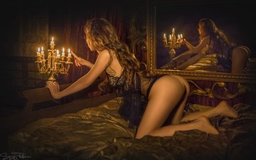 candles, girl, reflection, mirror, model, room, hair, ass, chandelier
