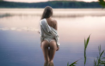 water, girl, model, back, hair, ass