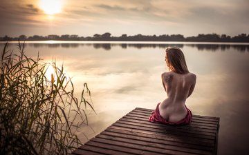 the sky, lake, girl, pierce, model, tattoo, back, figure, naked, ass, jiří tulach