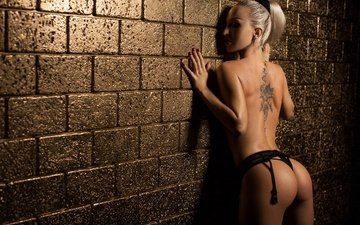 girl, blonde, wall, panties, model, tattoo, face, makeup, ass, red nails
