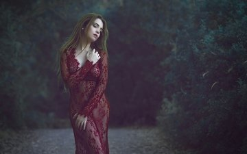forest, girl, dress, model, hair, face, closed eyes