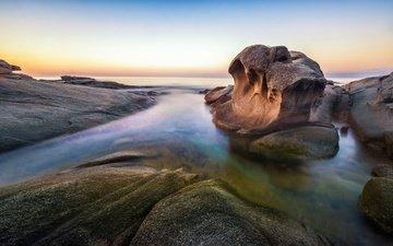 the sky, rocks, sunset, sea, horizon, coast, the ocean, spain, catalonia