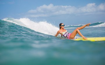 the sky, clouds, girl, mood, sea, glasses, model, surfing, positive