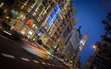 night, the city, street, tower, building, spain, lighting, madrid