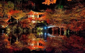 ночь, огни, природа, мостик, парк, осень, пагода, япония, пруд, беседка, освещение