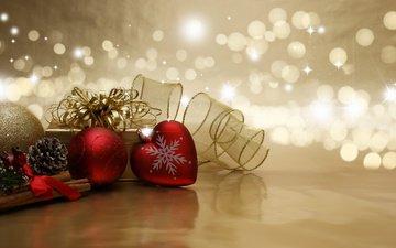 новый год, сердечко, шар, праздник, рождество, шишки