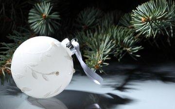 новый год, хвоя, ветки, шар, праздник, рождество