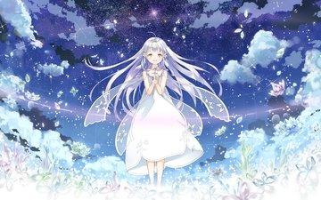 облака, девушка, взгляд, лицо, кристаллы, scenic, белые волосы, в платье, glass no hana to kowasu sekai, remo