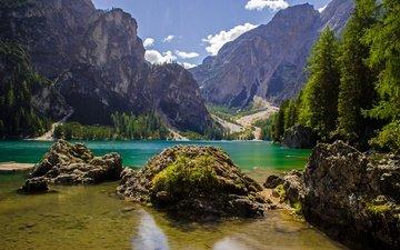 озеро, горы, италия, доломитовые альпы, трентино-альто-адидже, lago di braies, braies