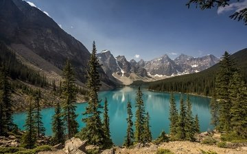 lake, mountains, canada, alberta, banff national park, moraine lake