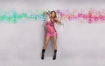 девушка, взгляд, ножки, волосы, лицо, певица, знаменитость, розовое платье, ферги