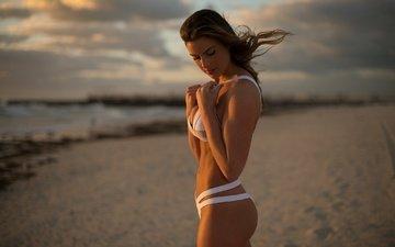 девушка, пляж, модель, волосы, лицо, купальник