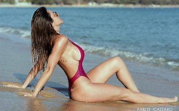 girl, sea, sand, beach, glasses, model, hair, face, tattoo, swimsuit, sitting, sunglasses, pablo cazzaro