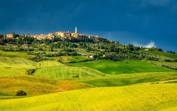 the sky, field, panorama, italy, tuscany, pienza