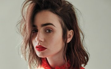girl, portrait, look, model, hair, lips, face, actress, makeup, lily collins