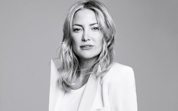 girl, portrait, look, black and white, hair, face, actress, kate hudson