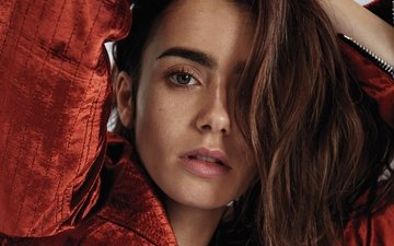 girl, portrait, look, hair, face, actress, lily collins