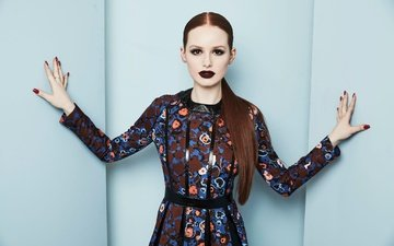 girl, dress, pose, look, hair, face, actress, makeup, madelaine petsch, madeline pets