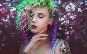 flowers, nature, girl, portrait, model, tattoo, face, hands, makeup, nails, closed eyes