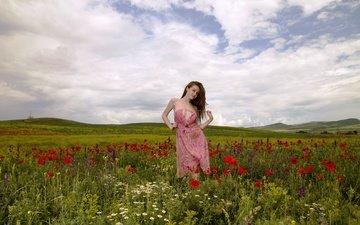 природа, девушка, платье, лето, взгляд, волосы, лицо, полевые цветы, emily blooml