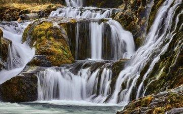 скалы, природа, камни, водопад, каскад
