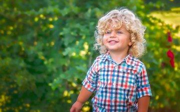 улыбка, взгляд, волосы, лицо, ребенок, мальчик