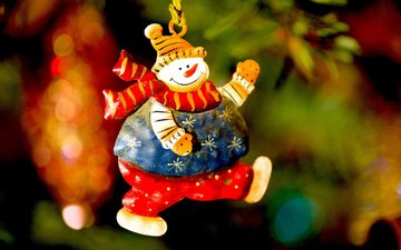 new year, toy, snowman, christmas, christmas decorations