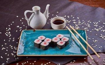 рыба, натюрморт, соус, рис, суши, роллы, морепродукты
