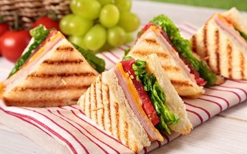 greens, grapes, cheese, bread, tomatoes, sandwich, sandwiches, toast, ham
