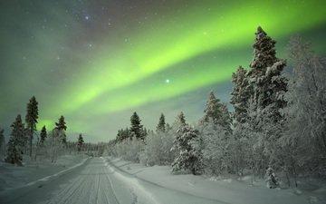 дорога, деревья, снег, природа, зима, пейзаж, сияние, иней, северное сияние