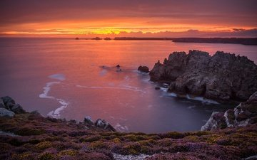 rocks, sunset, sea, coast, france, brittany, lyon isle de crozon, the presqu'ile de crozon, pointe de dinan