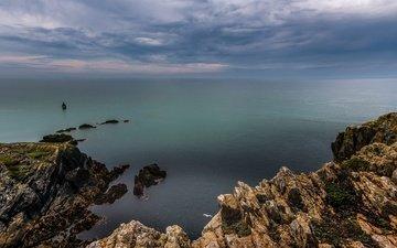 небо, облака, скалы, пейзаж, море, побережье, уэльс