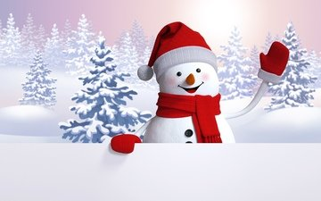 snow, new year, winter, snowman, tree, christmas