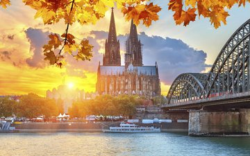cathedral, bridge, the city, germany, cologne