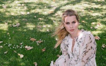 трава, девушка, парк, блондинка, взгляд, волосы, лицо, актриса, клер холт