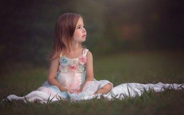 трава, природа, платье, взгляд, девочка, ребенок, julia altork