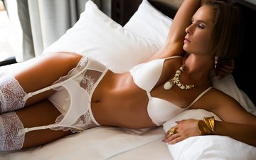 decoration, girl, stockings, bed, belt, underwear, brown hair, marina vetrova