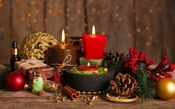свечи, новый год, украшения, рождество, шишки, елочные игрушки