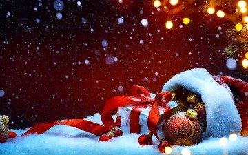 снег, новый год, украшения, подарок, рождество, елочные игрушки