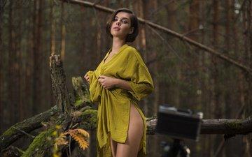 природа, лес, девушка, взгляд, модель, ножки, волосы, лицо