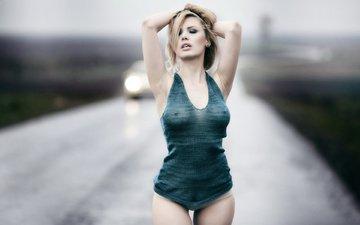 дорога, девушка, поза, взгляд, модель, волосы, лицо, руки