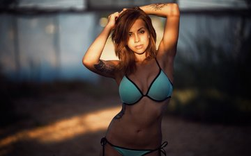 girl, look, model, hair, face, tattoo, bikini, belly