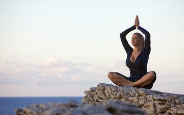 girl, pose, blonde, face, hands, meditation, yoga, sitting, closed eyes