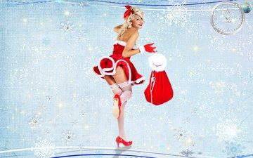 девушка, поза, блондинка, улыбка, подарки, модель, ноги, мешок, ножки, макияж, праздник, красное платье, снегурочка
