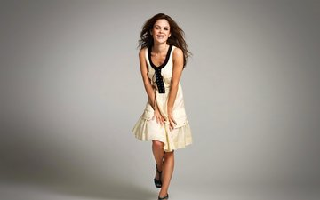 girl, background, smile, look, hair, face, white dress, rachel bilson, celebrity