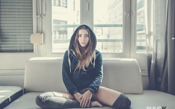 girl, look, panties, model, hair, face, hood, knee, marisol gonzález, marisol gonzalez