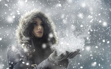 snow, winter, girl, snowflakes, look, hair, face, hood, snowfall, jacket