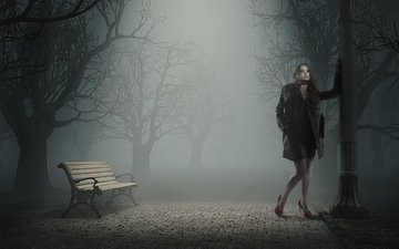 trees, girl, park, pose, fog, model, legs, bench, post